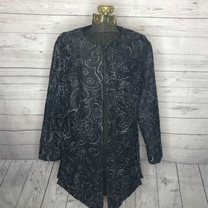 Chico's Black Silver Embroidered Tunic Jacket H147